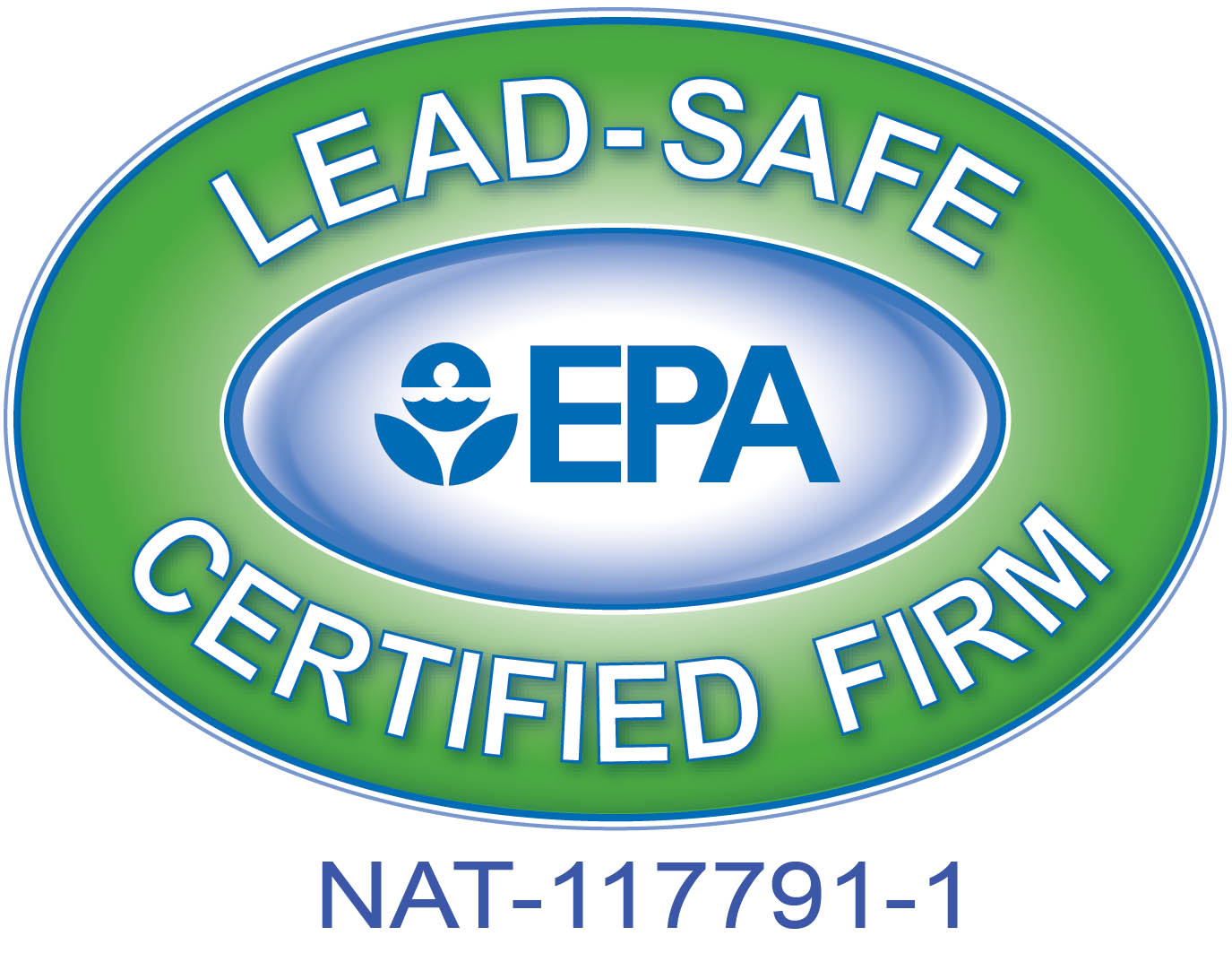 Logo: Lead-Safe certified firm with E.P.A. logo in the center.